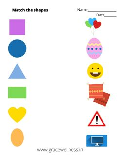 match the shapes to their objects worksheet
