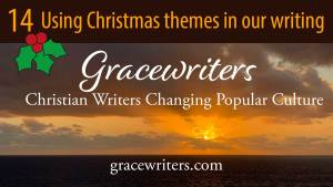 Image of sunrise with title of podcast episode, Writing on Christmas themes