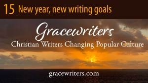 sunrise over sea with text: 15 New Year, New Writing Goals