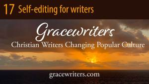 Sunrise over ocean with text: 17 Self-editing for Writers