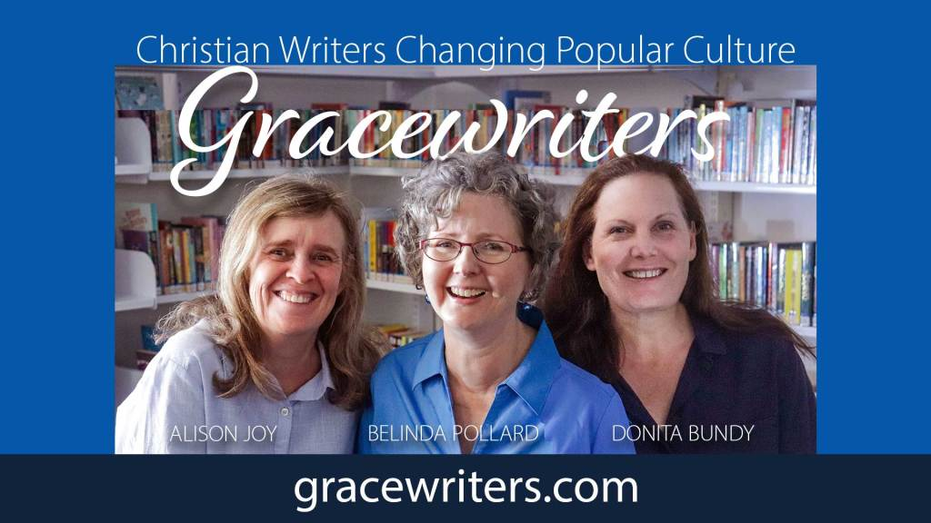 Three smiling women in front of library shelves with the text Gracewriters - Christian Writers Changing Popular Culture