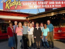 "Outside the famous Rudy's BBQ where the ""Missions Committee"" took us for supper. These are some of the neatest folks in the World!"