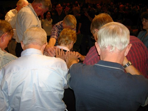 It is customary for the elders of the church to pray for the speaker after the service.