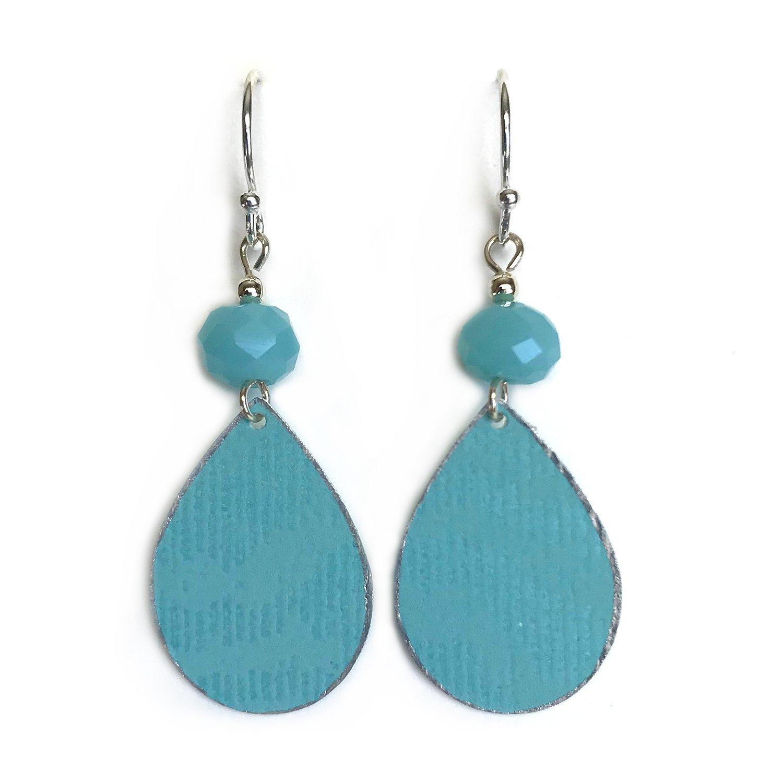 Teardrop {2} Aqua Earrings Aqua Faux Leather Earrings Weave Earrings Aqua Jewelry FREE SHIPPING Small Oval