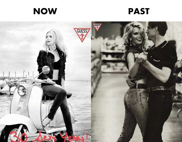 claudia schiffer guess now & past