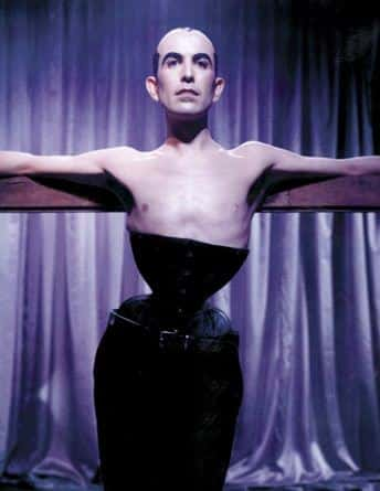 Mr Pearl a man wearing a corset