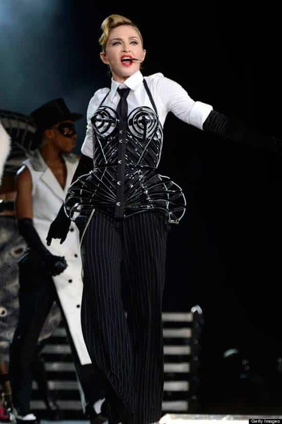 Madonna fashion icon ,tube bra 2012,summer tour