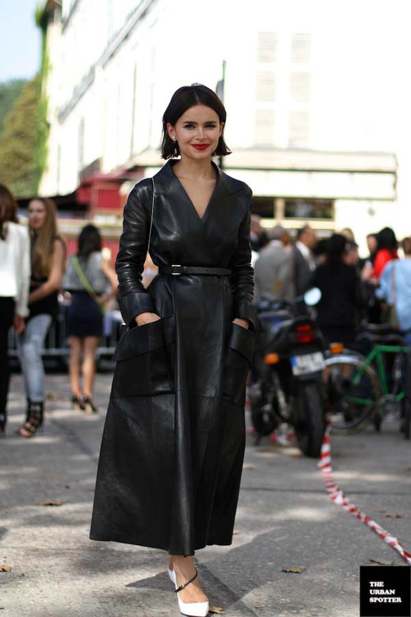 Black leather jacket worn as a dress - red lipstick