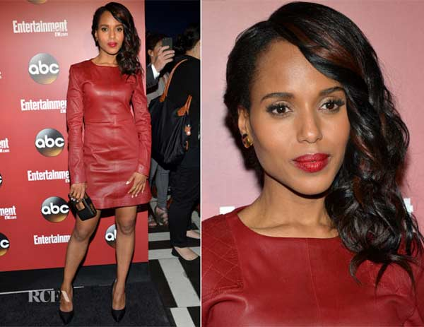 Kerry Washington in Marc Jacobs red leather dress