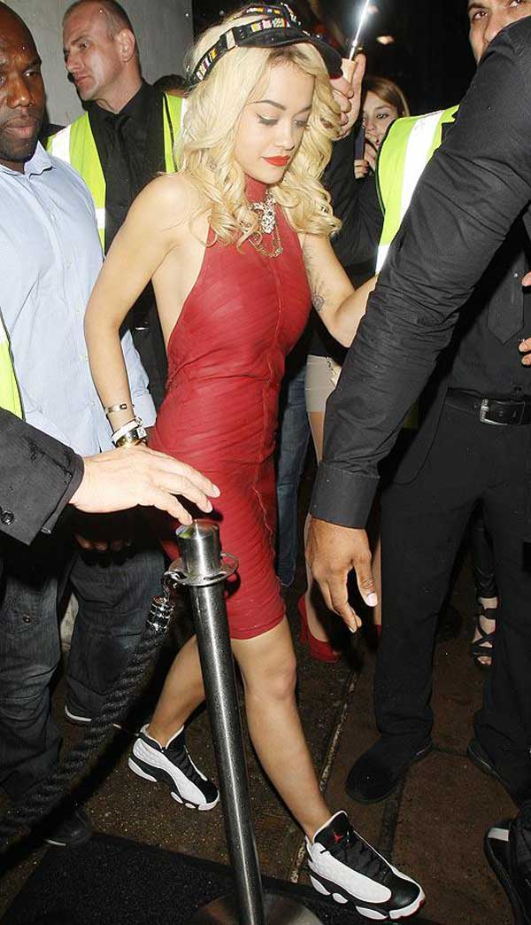 Rita Ora wearing a dress dress and trainers at the gym