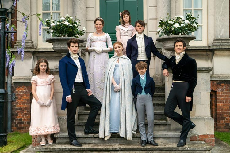 The Bridgerton family in their posh pastels: Hyacinth (Florence Hunt), Colin, Lady Violet Bridgerton (Ruth Gemmell), Daphne (Phoebe Dynevor), Eloise (Claudia Jessie), Anthony (Jonathan Bailey) and Gregory (Will Tilston) and Benedict (Luke Thompson). Photo: Liam Daniel/Courtesy of Netflix