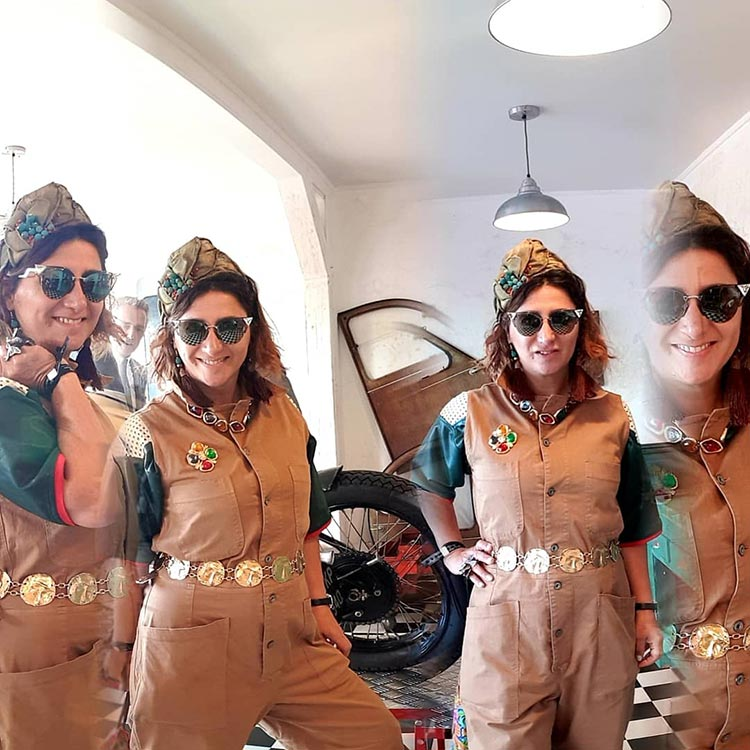 Goodwood Revival overalls YVL fashion Gracie Opulanza 2019n Fendi eyewearGold chunky