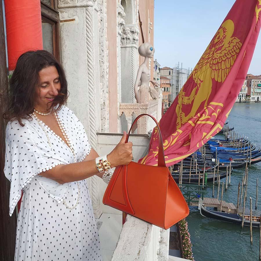 Michele Del Fine Algoats orange leather venice bag