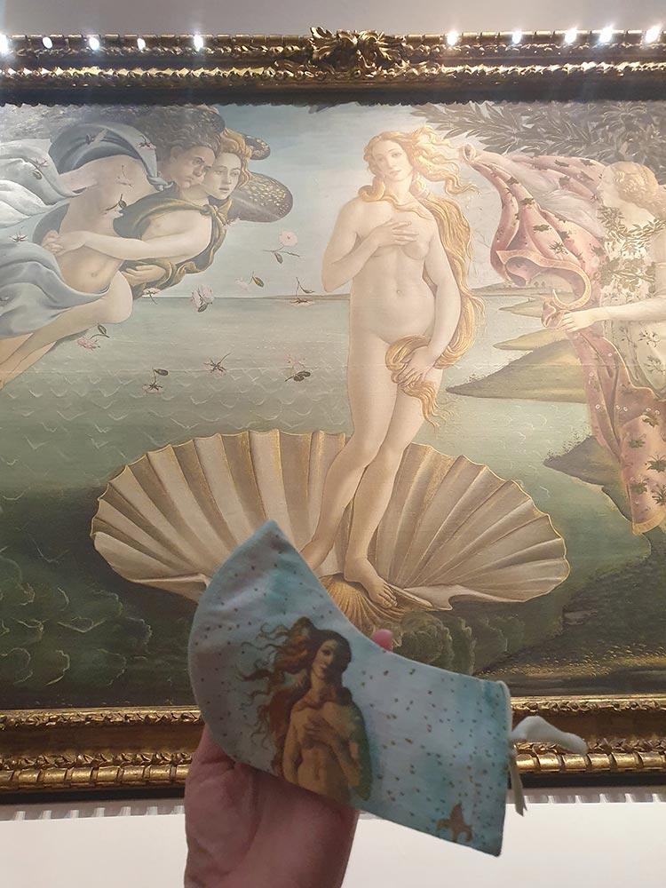 Birth of venus florence italy mask uffizi gallery