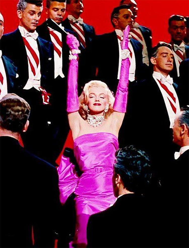 1953 gentlemens prefer blondes pink dress