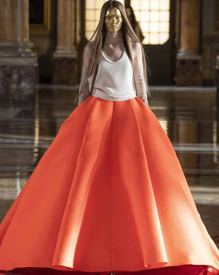 Valentino Skirt 2021 Orange Paris
