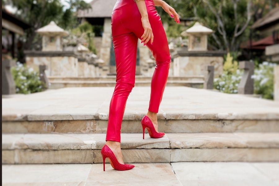 red leather leggings