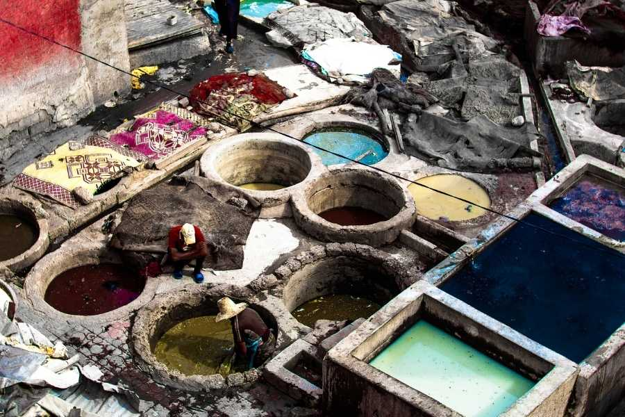 Chouara tannery during a trip to Fes in Morocco leather dying