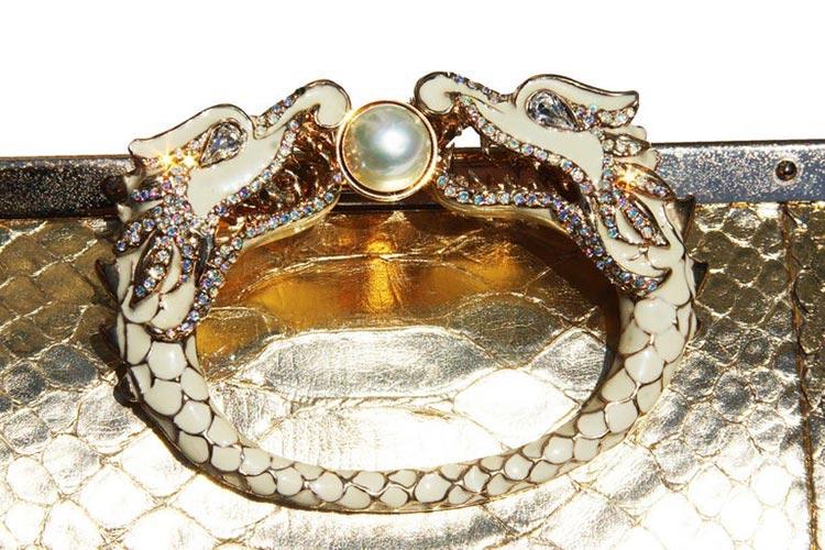 Limited EditionF/W 2004 Gold Python Crystal Dragon Clutch.