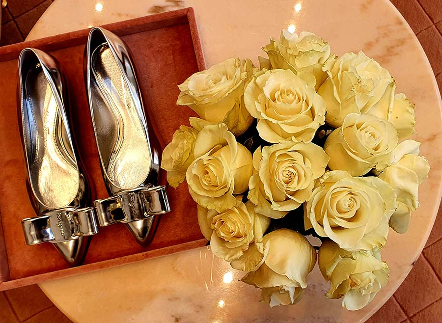 Salvatore Ferragamo silver flats shoes 2021