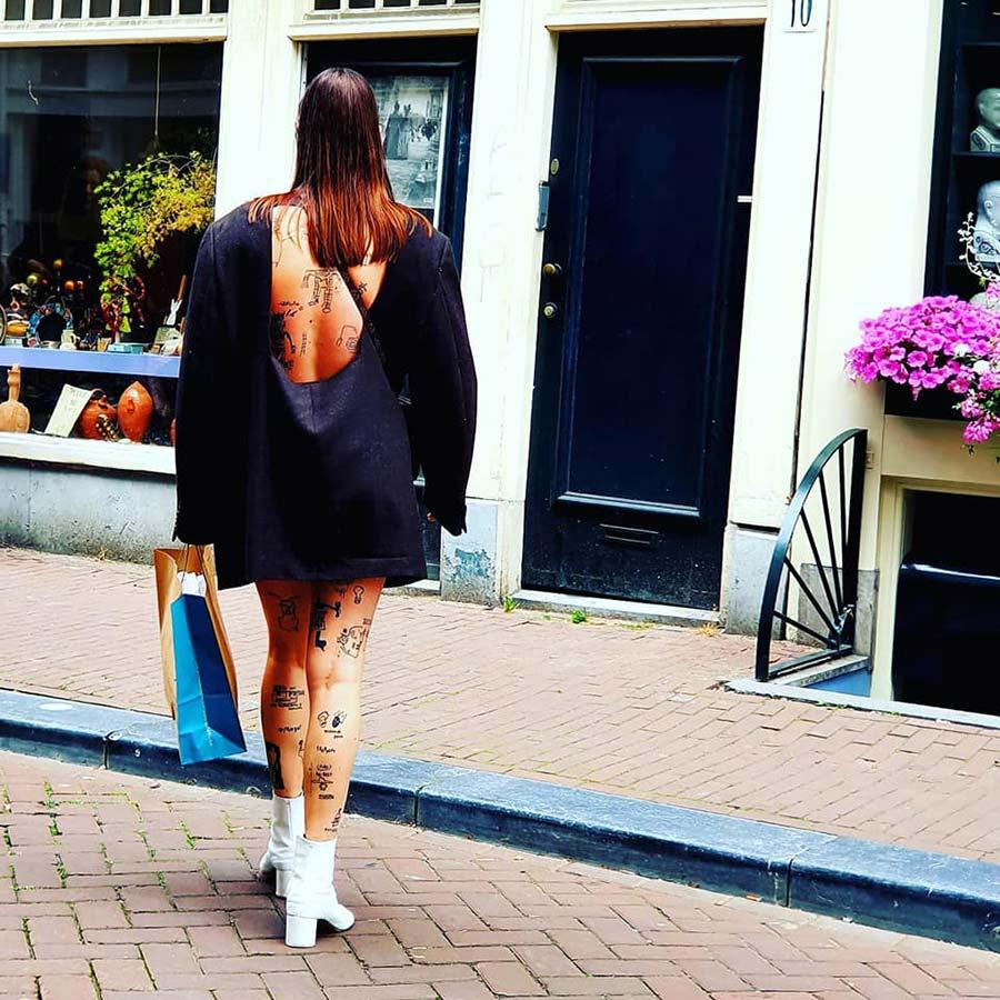 black dress white boots Amsterdam, streetstyle
