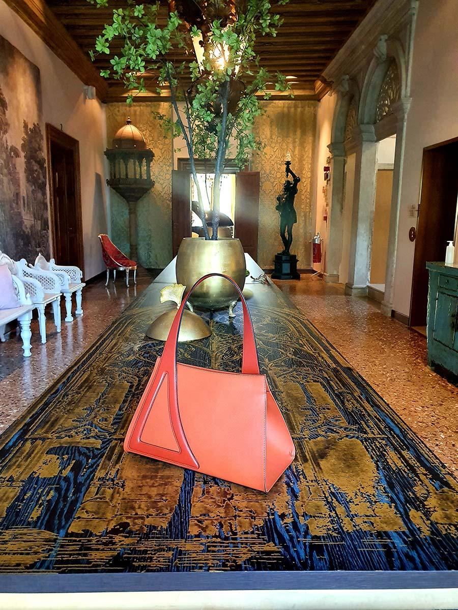 Michele De Fine Aragosta orange leather bag Gracie Opulanza made initaly (2)