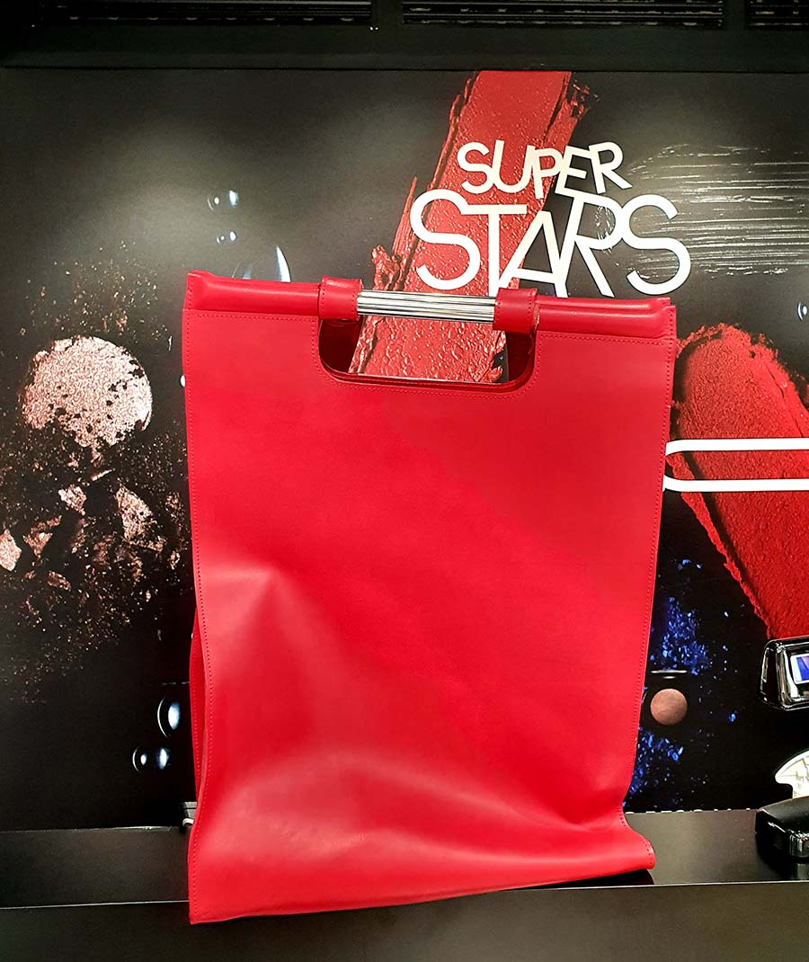 red GO leather bag made in italy