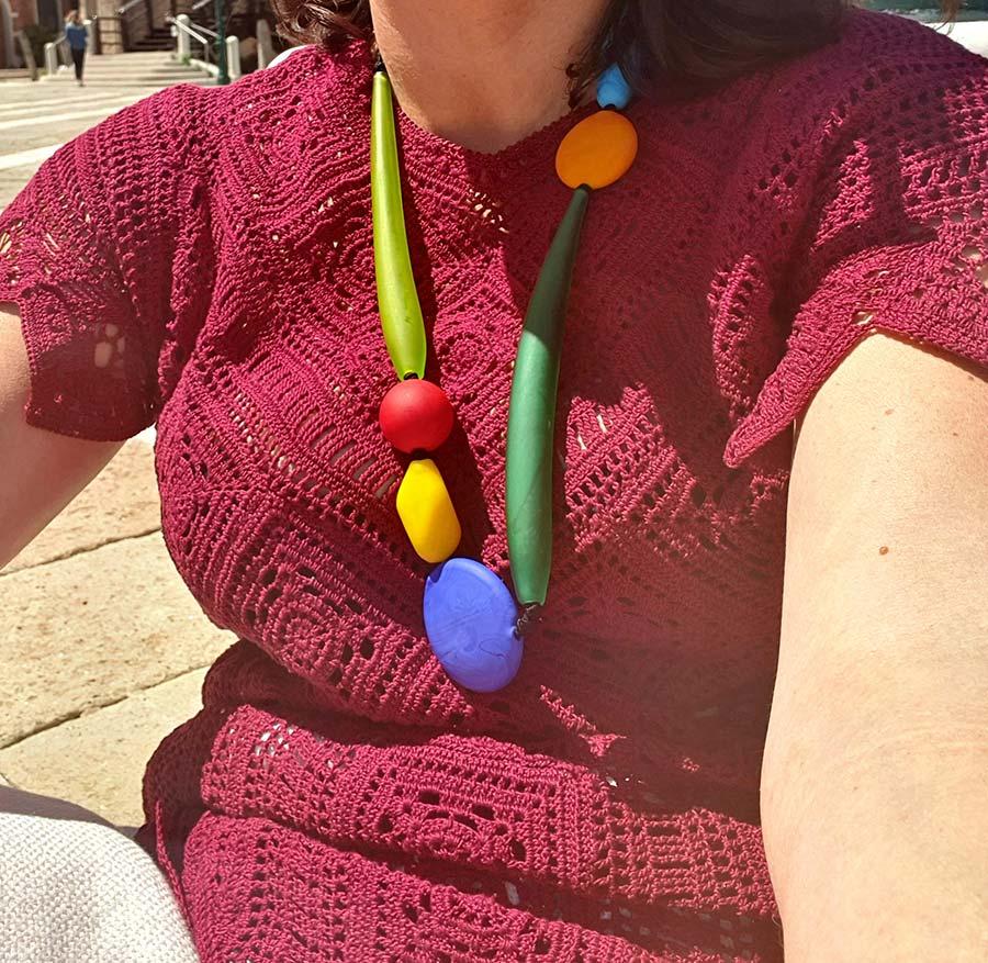 Gracie-Opulanza-crotchet-dress-wearing-Murano-Glass-necklace-2021-Venice-2