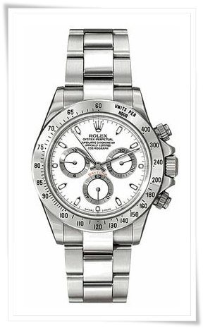 Rolex Daytona White Index Dial Oyster Bracelet Mens Watch