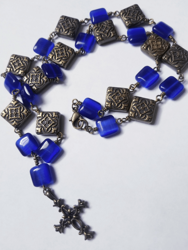 Cross and Glass Bead Necklace
