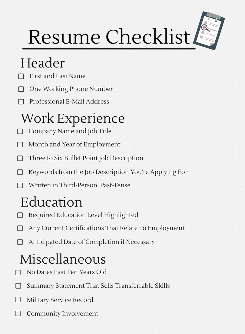 resume check list