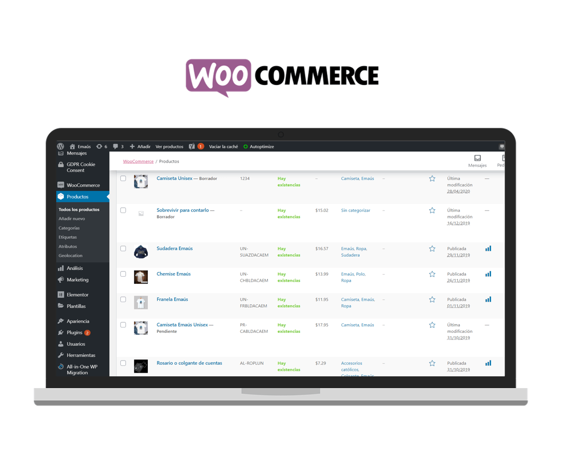 ETL productos a Woocommerce