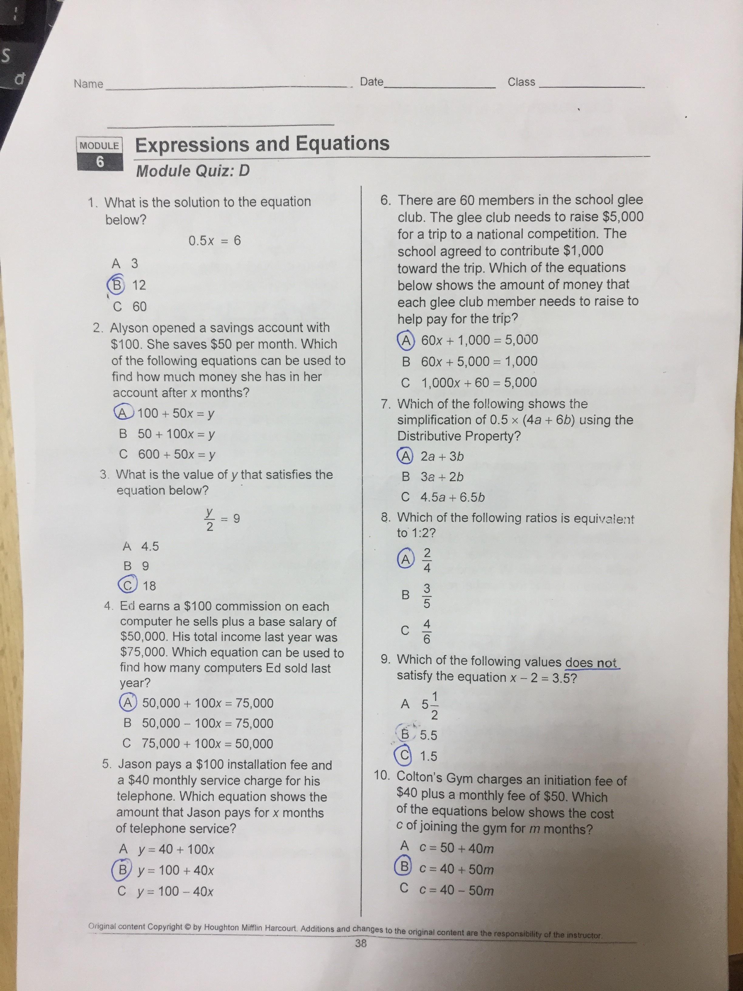 Writing Linear Equations Module Quiz B Answers