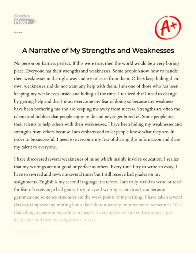 A Narrative of My Strengths and Weaknesses: [Essay Example], 11