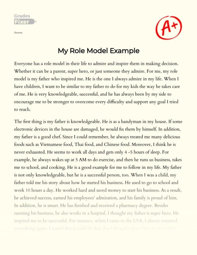 My Role Model Example: [Essay Example], 25 words GradesFixer