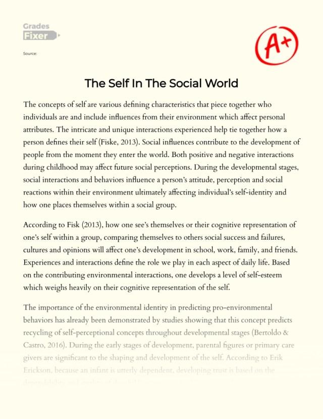 The Self In The Social World: [Essay Example], 16 words GradesFixer