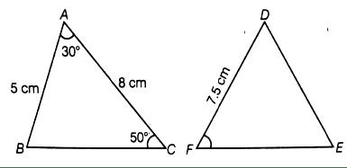 EX 6.1 Q9 If ∆ABC ∼ ∆DFE, ∠A = 30°, ∠C = 50°, AB = 5 cm