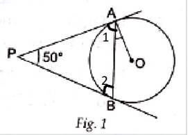 Q4 In Fig. 1, PA and PB are tangents to the circle with