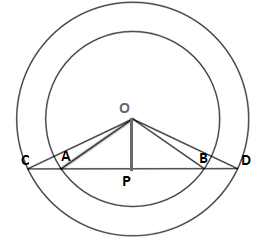 Q16A5 The centre of two concentric circle is O; a straight