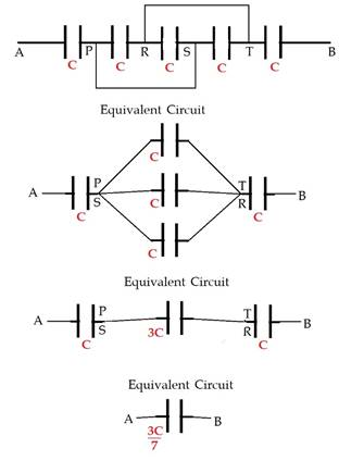 Find equivalent capacitance between A and B in the
