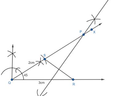 EX 11.4 Q2 A triangle PQR given that QR = 3cm, ∠PQR = 45
