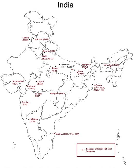 On an outline political map of India, mark the centres