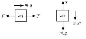 A constant force F=m2g/2 is applied on the block of mass