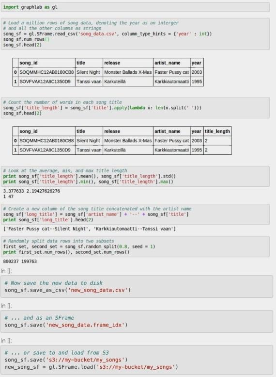 GraphLab SFrame: sample code
