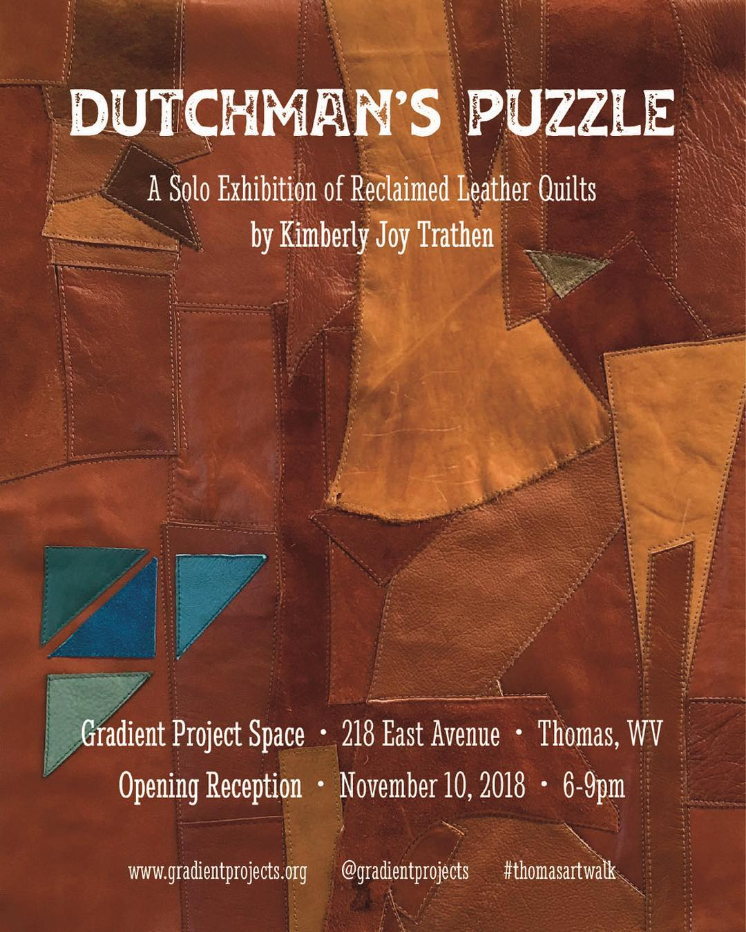 This Saturday!  We're opening a new solo show of reclaimed leather quilts by Kimberly Joy Trathen (@backstitched_design) … Also in town as part of #thomasartwalk : … Counterstitch, a group show with @frockandrollwv, @coffeebitch666 & @rebgracelaw at @offwhite_studios / @whiteroomofthomas … Then and Now, a solo show with @suzanneteune at @lamplightgallery. … And 'Stange Drink', a new series by @theartofseth at @creatureofthomaswv. … We hope to see you then. #thomasartwalk