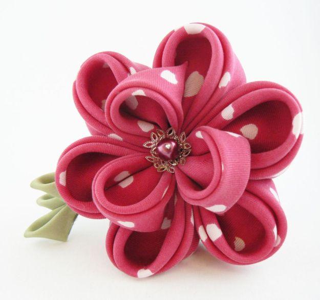 Floare bujor rosu zmeura matase clama par kanzashi