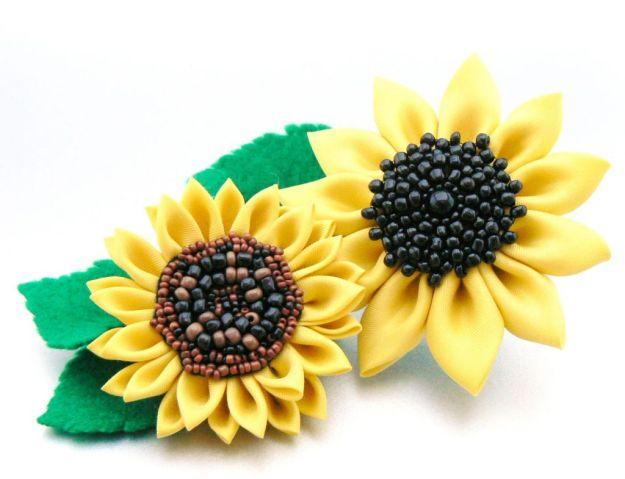 Flori ale soarelui kanzashi - Gradina cu fluturi