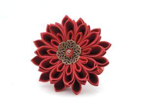 Crizantema rosie evenimente speciale - floare kanzashi satin