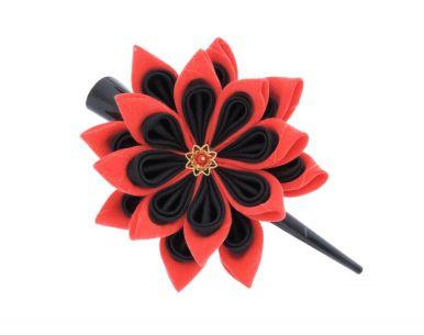 Floare de lotus din matase negru rosu cu auriu