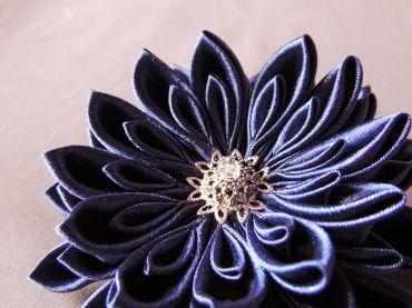 tutorial crizantema mare floare kanzashi satin detaliu